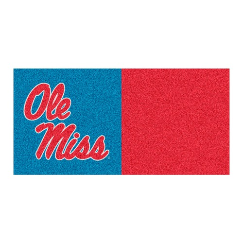 """18"""" Blue and Red NCAA """"Ole Miss"""" Rebels Square Carpet Tiles - IMAGE 1"""