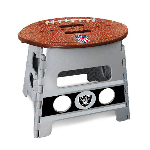 """14"""" Gray and Brown NFL Oakland Raiders Folding Step Stool - IMAGE 1"""