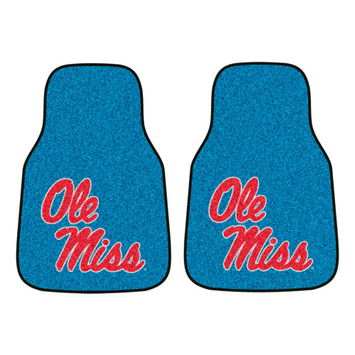 "Set of 2 Red and Blue NCAA Ole Miss Rebels Carpet Car Mats 17"" x 27"" - IMAGE 1"