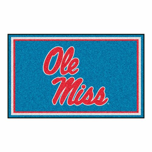 4' x 6' Blue and Red NCAA Ole Miss Rebels Rectangular Plush Area Throw Rug - IMAGE 1
