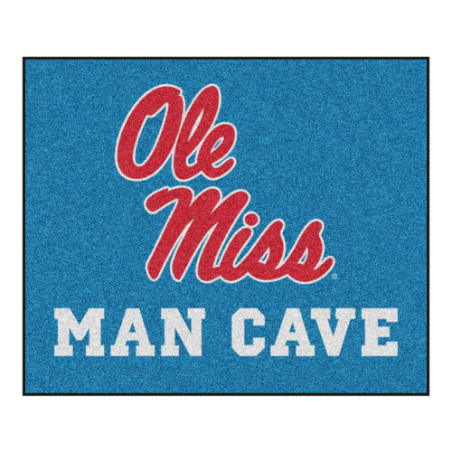 """Blue and Red Mississippi """"Ole Miss MAN CAVE"""" Rectangular Ultimate Area Rug 5.9"""" x 4.9"""" - IMAGE 1"""