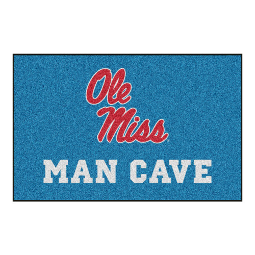 """Blue and Red Mississippi """"Ole Miss MAN CAVE"""" Rectangular Sweater Starter Mat 30"""" x 19"""" - IMAGE 1"""