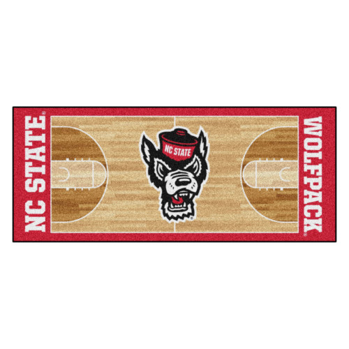 """30"""" x 72"""" Brown and Red NCAA North Carolina State Wolfpack Rectangular Area Throw Rug Runner - IMAGE 1"""