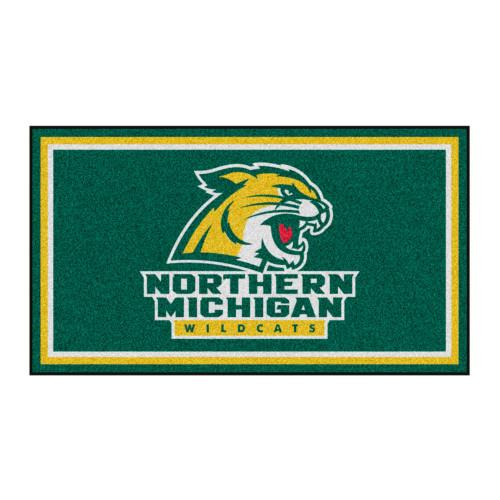 3' x 5' Green and Yellow NCAA Northern Michigan Wildcats Rectangular Plush Area Throw Rug - IMAGE 1