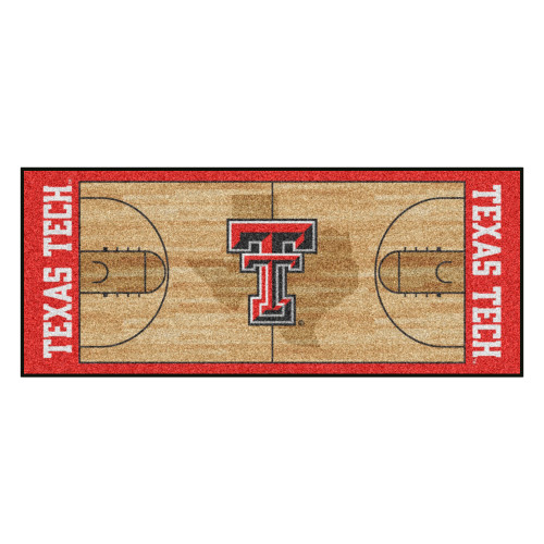 """30"""" x 72"""" Brown and Red NCAA Texas Tech Red Raiders Rectangular Area Throw Rug Runner - IMAGE 1"""