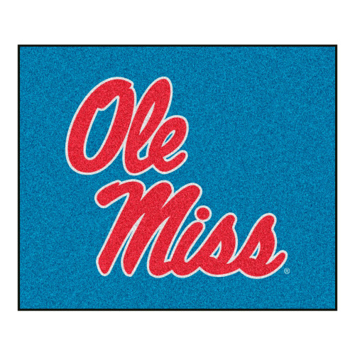 """59.5"""" x 71"""" Blue and Red NCAA Ole Miss Rebels Rectangular Tailgater Area Rug - IMAGE 1"""