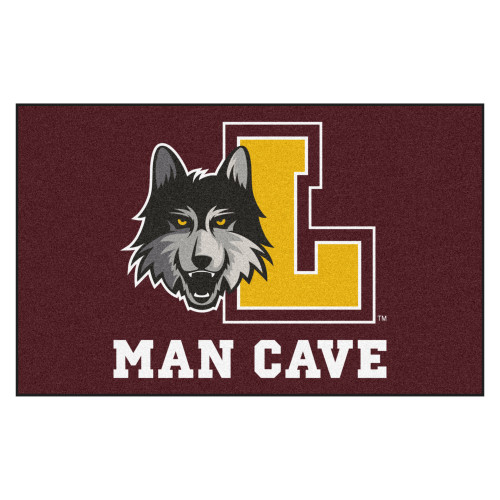 """Burgundy Red and Yellow Loyola Chicago """"MAN CAVE"""" Rectangular Ultimat Area Rug 4.9"""" x 7.8"""" - IMAGE 1"""