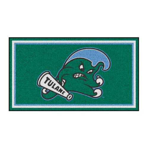 3' x 5' Green and Blue NCAA Tulane Green Wave Rectangular Plush Area Throw Rug - IMAGE 1