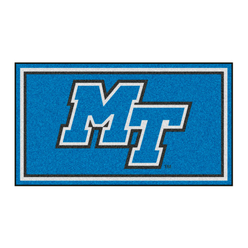 3' x 5' Blue and White NCAA Middle Tennessee Blue Raiders Rectangular Plush Area Throw Rug - IMAGE 1