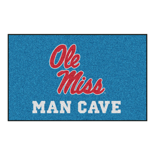 """Blue and Red Mississippi """"Ole Miss MAN CAVE"""" Rectangular Ultimate Area Rug 4.9"""" x 7.8"""" - IMAGE 1"""