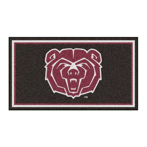 3' x 5' Black and Maroon NCAA Missouri State University Bears Rectangular Plush Area Throw Rug - IMAGE 1