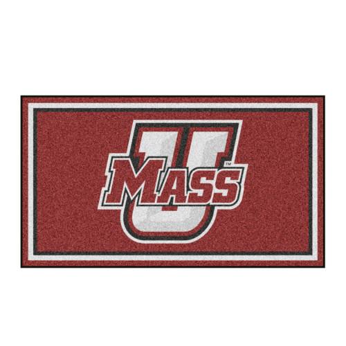 3' x 5' Red and White NCAA University of Massachusetts Minutemen Rectangular Plush Area Throw Rug - IMAGE 1