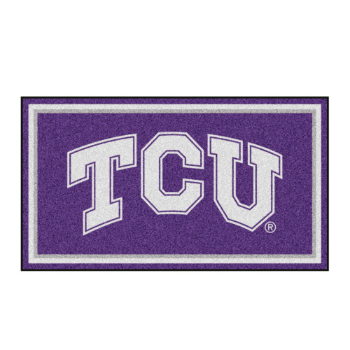 3' x 5' Purple and White NCAA Texas Horned Frogs Rectangular Plush Area Throw Rug - IMAGE 1