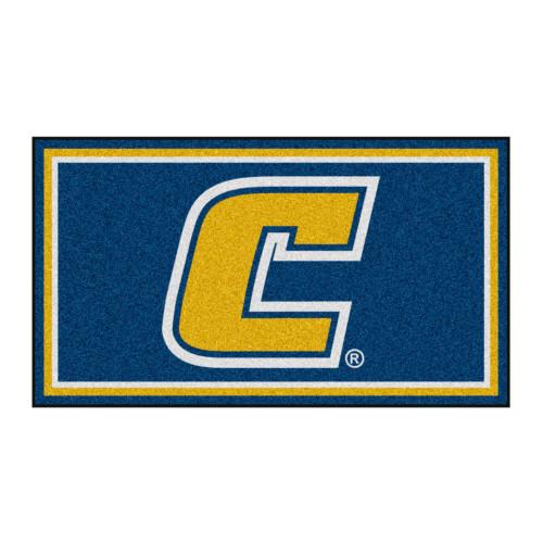 3' x 5' Blue and Yellow NCAA Chattanooga Mocs Rectangular Plush Area Throw Rug - IMAGE 1