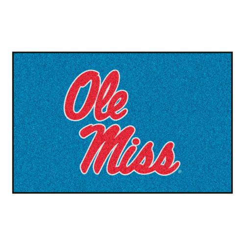 "19"" x 30"" Blue and Red NCAA Ole Miss Rebels Rectangular Starter Mat - IMAGE 1"
