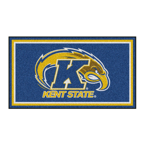 3' x 5' Navy Blue and Yellow NCAA Kent State Golden Flashes Rectangular Plush Area Throw Rug - IMAGE 1