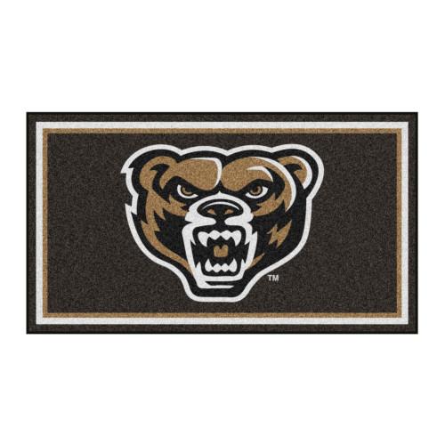 3' x 5' Black and White NCAA Oakland University Golden Grizzlies Rectangular Plush Area Throw Rug - IMAGE 1