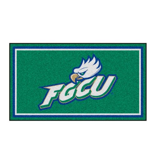 3' x 5' Green and White NCAA Florida Gulf Coast Eagles Rectangular Plush Area Throw Rug - IMAGE 1