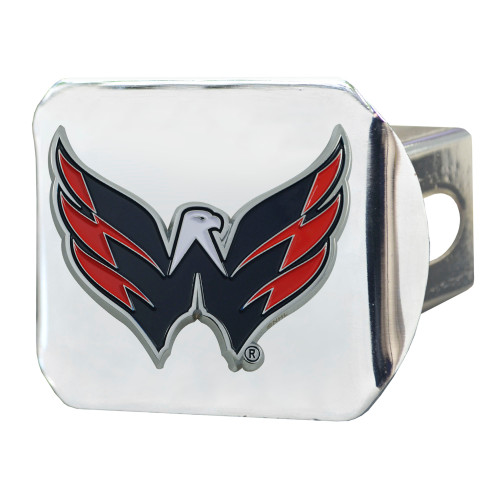 """4"""" Stainless Steel and Black NHL Washington Capitals Hitch Cover - IMAGE 1"""