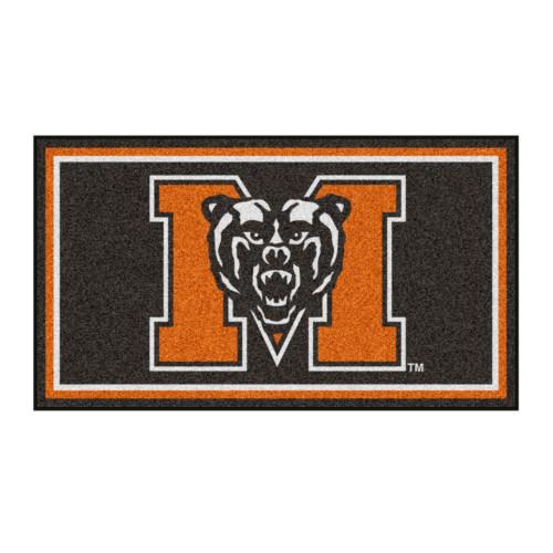 3' x 5' Orange and Black NCAA Mercer University Bears Rectangular Plush Area Throw Rug - IMAGE 1