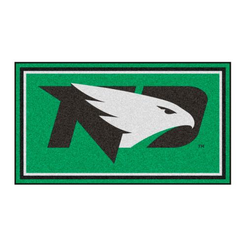 3' x 5' Green and Black NCAA North Dakota Fighting Hawks Rectangular Plush Area Throw Rug - IMAGE 1