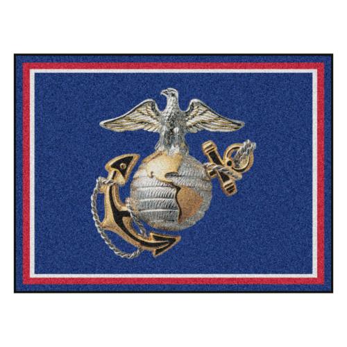 8' x 10' Violet and Gray United States Marine Corps Rectangular Plush Area Throw Rug - IMAGE 1