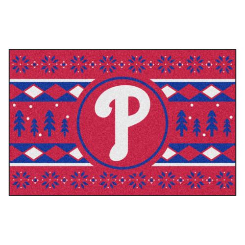 "Red and Blue MLB Philadelphia Phillies Rectangular Sweater Starter Mat 30"" x 19"" - IMAGE 1"