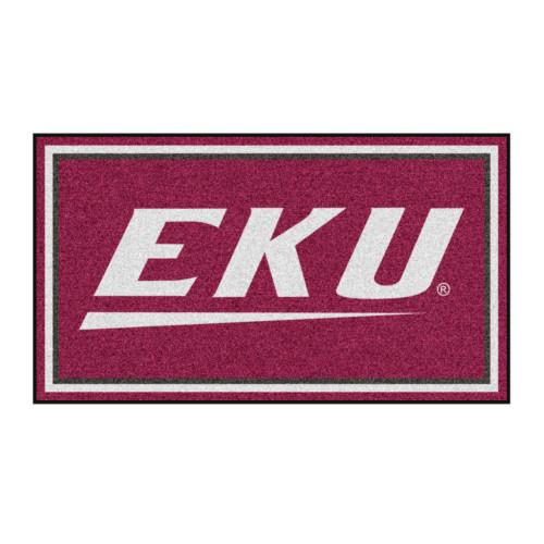3' x 5' Maroon and White NCAA Eastern Kentucky University Colonels Rectangular Plush Area Throw Rug - IMAGE 1
