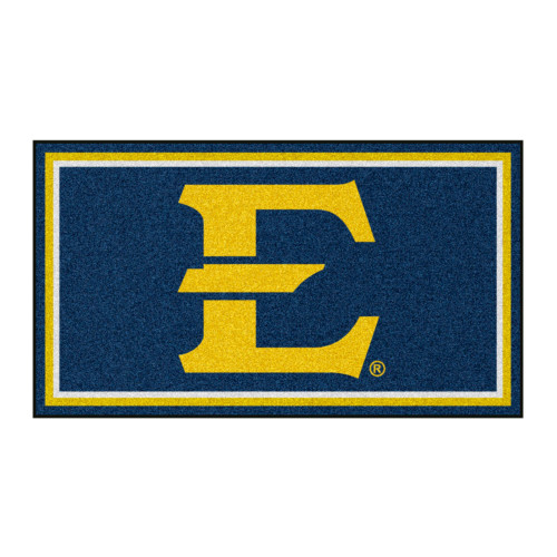 3' x 5' Navy Blue and Yellow NCAA East Tennessee State Buccaneers Rectangular Plush Area Throw Rug - IMAGE 1