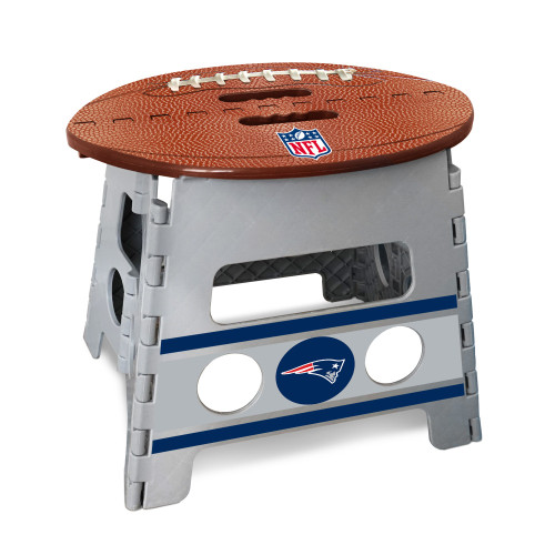 """14"""" Gray and Brown NFL New England Patriots Folding Step Stool - IMAGE 1"""