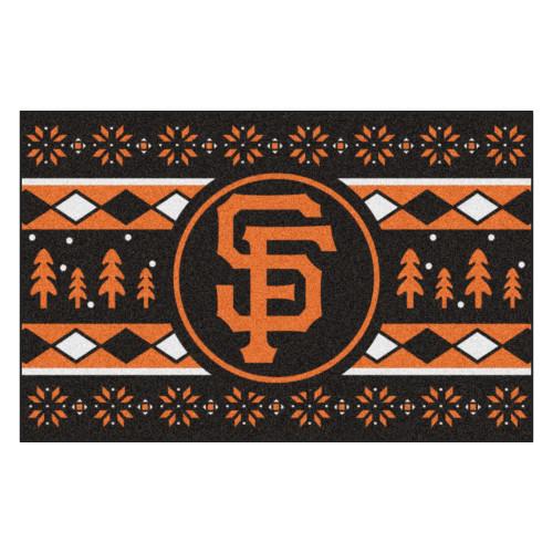 "Black and Orange MLB San Francisco Giants Rectangular Sweater Starter Mat 30"" x 19"" - IMAGE 1"