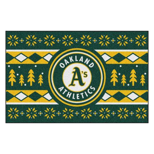 "Green and Yellow MLB Oakland Athletics Rectangular Sweater Starter Mat 30"" x 19"" - IMAGE 1"