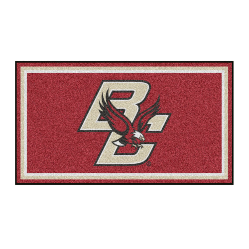 3' x 5' Red and Beige NCAA Boston College Eagles Rectangular Plush Area Throw Rug - IMAGE 1