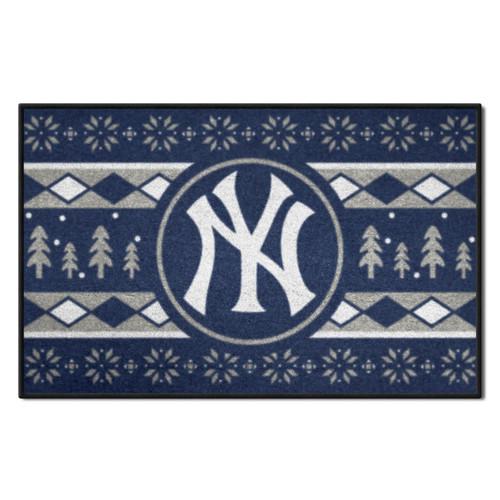"Blue and White MLB New York Yankees Rectangular Sweater Starter Mat 30"" x 19"" - IMAGE 1"