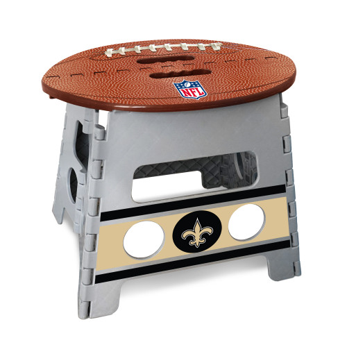 "14"" Gray and Brown NFL New Orleans Saints Folding Step Stool - IMAGE 1"