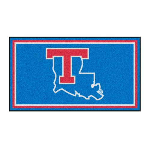 3' x 5' Blue and Red NCAA Louisiana Tech Bulldogs Rectangular Plush Area Throw Rug - IMAGE 1
