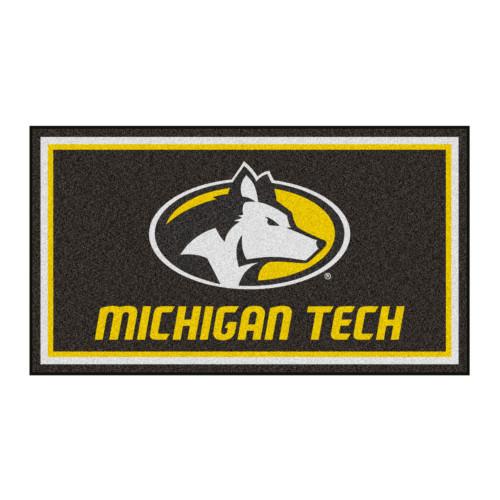 3' x 5' Gray and Yellow NCAA Michigan Tech Huskies Rectangular Plush Area Throw Rug - IMAGE 1