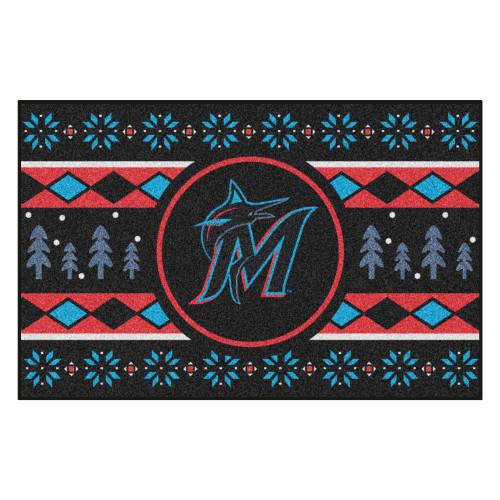 "Black and Blue MLB Miami Marlins Rectangular Sweater Starter Mat 30"" x 19"" - IMAGE 1"