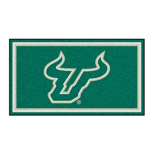 3' x 5' Green and White NCAA South Florida Bulls Rectangular Plush Area Throw Rug - IMAGE 1