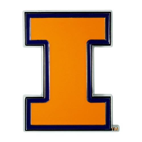 """3"""" Orange and Black NCAA Illinois Fighting Illini 3D Emblem - IMAGE 1"""