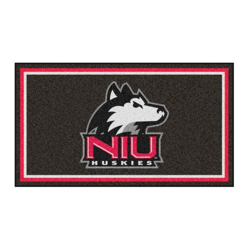 3' x 5' Red and Black NCAA Northern Illinois Huskies Rectangular Plush Area Throw Rug - IMAGE 1