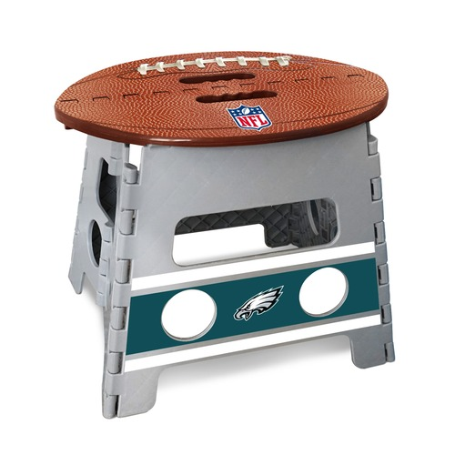 "14"" Gray and Brown NFL Philadelphia Eagles Folding Step Stool - IMAGE 1"