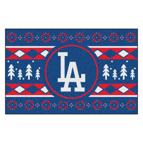 """Blue and Red MLB Los Angeles Dodgers Rectangular Sweater Starter Mat 30"""" x 19"""" - IMAGE 1"""