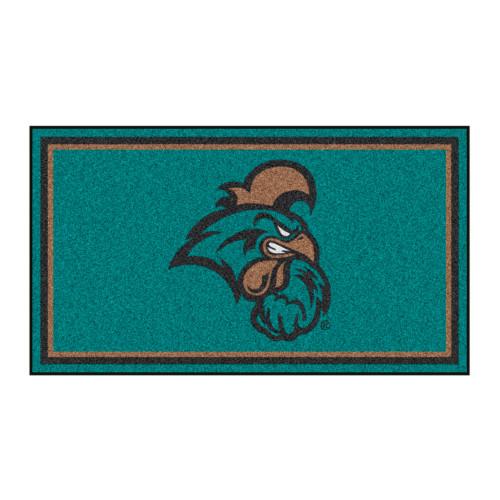 3' x 5' Green and Black NCAA Coastal Carolina Chanticleers Rectangular Plush Area Throw Rug - IMAGE 1