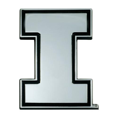 """3"""" Stainless Steel and Black NCAA Illinois Fighting Illini 3D Emblem - IMAGE 1"""