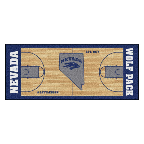 """30"""" x 72"""" Brown and Blue NCAA Nevada Wolf Pack Rectangular Area Throw Rug Runner - IMAGE 1"""