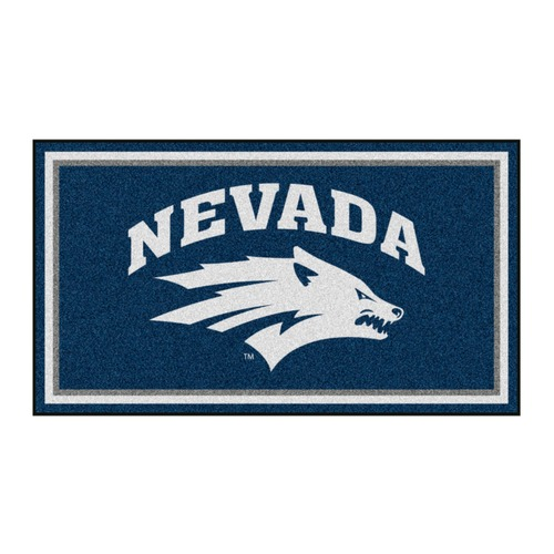 3' x 5' Blue and White NCAA Nevada Wolf Pack Rectangular Plush Area Throw Rug - IMAGE 1