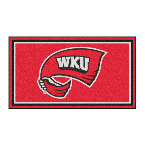 3' x 5' Red and White NCAA Western Kentucky Hilltoppers Rectangular Plush Area Throw Rug - IMAGE 1