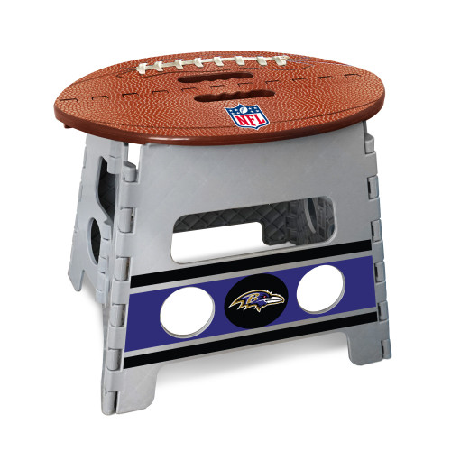 "14"" Gray and Brown NFL Baltimore Ravens Folding Step Stool - IMAGE 1"