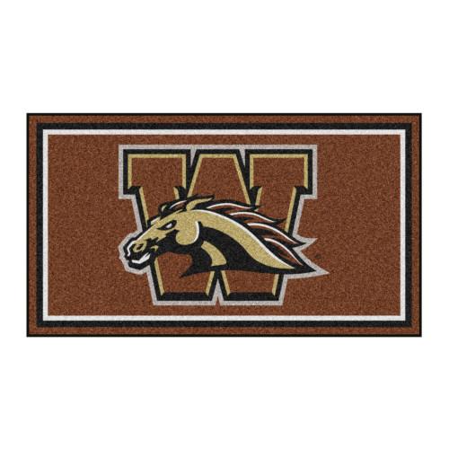 3' x 5' Brown and Gold NCAA Western Michigan Broncos Rectangular Plush Area Throw Rug - IMAGE 1